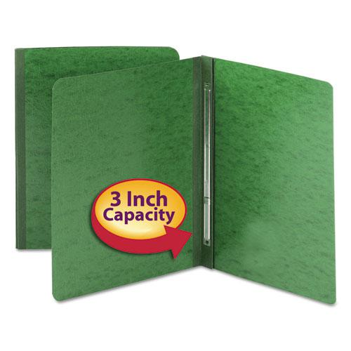 Side Opening Press Guard Report Cover, Prong Fastener, Letter, Green. Picture 2