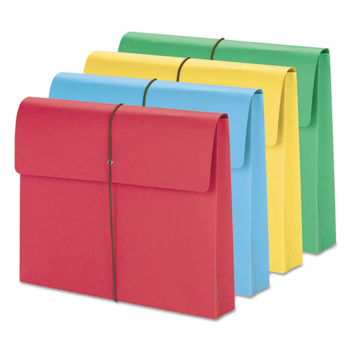 """Expanding Wallet w/ Elastic Cord, 2"""" Expansion, 1 Section, Letter Size, Assorted, 50/Box. Picture 1"""
