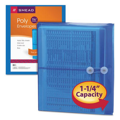 Poly String and Button Interoffice Envelopes, String and Button Closure, 9.75 x 11.63, Transparent Blue, 5/Pack. Picture 5