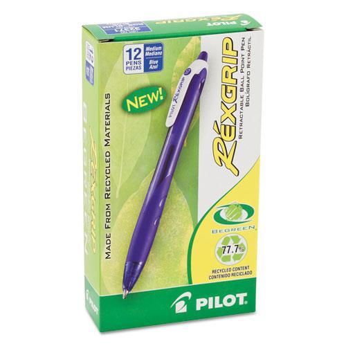 RexGrip BeGreen Ballpoint Pen, Retractable, Medium 1 mm, Blue Ink, Blue Barrel, Dozen. Picture 2