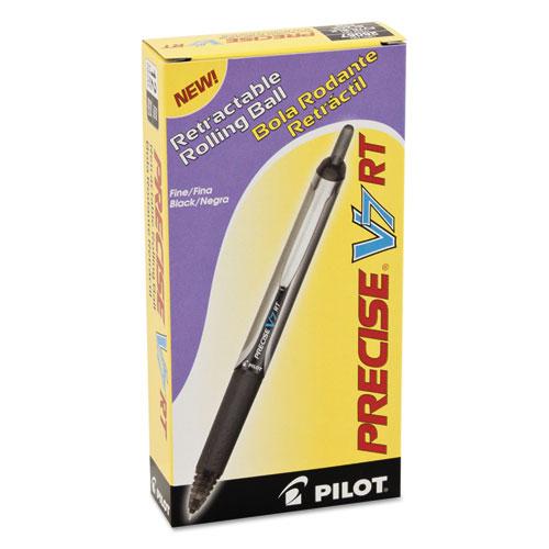 Precise V7RT Retractable Roller Ball Pen, Fine 0.7mm, Black Ink, Black Barrel. Picture 2