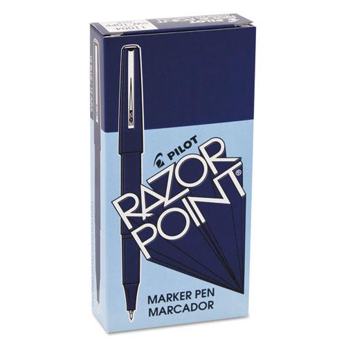 Razor Point Fine Line Porous Point Pen, Stick, Extra-Fine 0.3 mm, Blue Ink, Blue Barrel, Dozen. Picture 2