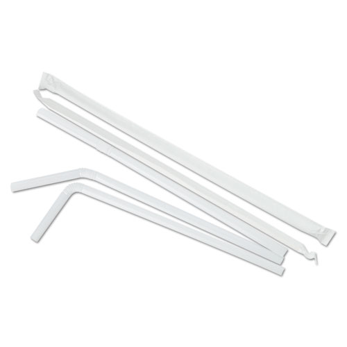 "Flexible Wrapped Straws, 7 3/4"", White, 500/Pack, 20 Packs/Carton. Picture 2"