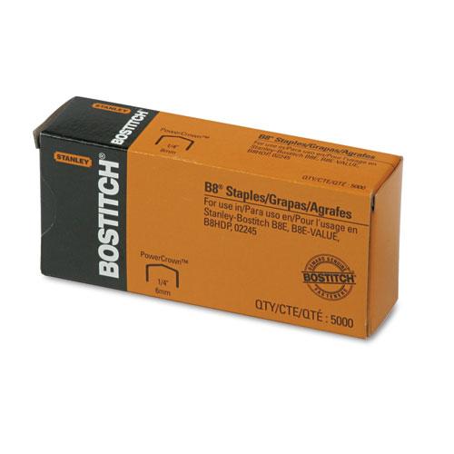 "B8 PowerCrown Premium Staples, 0.25"" Leg, 0.5"" Crown, Steel, 5,000/Box. Picture 1"