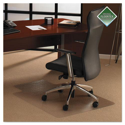 """Cleartex Ultimat Chair Mat, Clear Polycarbonate, For Low & Medium Pile Carpets (up to 1/2""""), Rectangular with Lip, Size 48"""" x 53"""". Picture 2"""