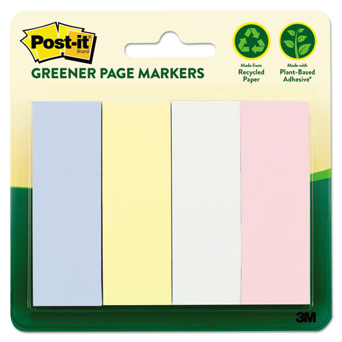 Greener Page Flags, Pastel, 50 Strips/Pad, 4 Pads/Pack. Picture 1