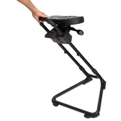 Alera SS Series Sit/Stand Adjustable Stool, Black/Black, Black Base. Picture 5