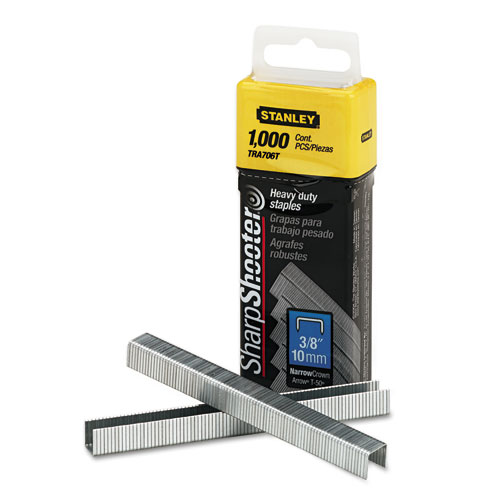 """SharpShooter Heavy-Duty Tacker Staples, 0.38"""" Leg, 0.5"""" Crown, Steel, 1,000/Box. Picture 1"""