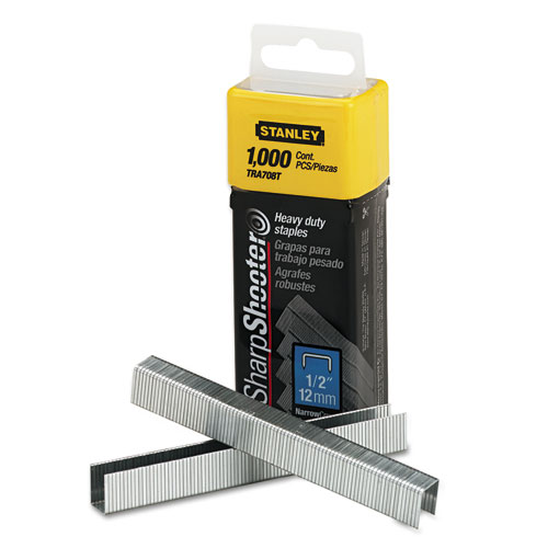 """SharpShooter Heavy-Duty Tacker Staples, 0.5"""" Leg, 0.5"""" Crown, Steel, 1,000/Box. Picture 1"""