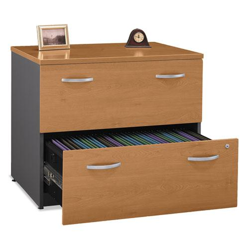 Series C Collection 2 Drawer 36W Lateral File (Assembled), 35.75w x 23.38d x 29.88h, Natural Cherry. Picture 2