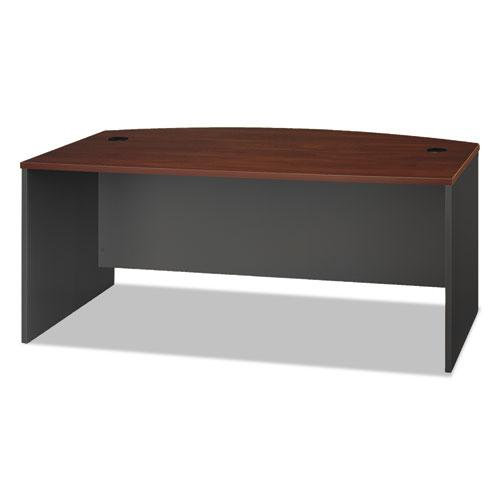 Series C Collection 72W Bow Front Desk Shell, 71.13w x 36.13d x 29.88h, Hansen Cherry/Graphite Gray