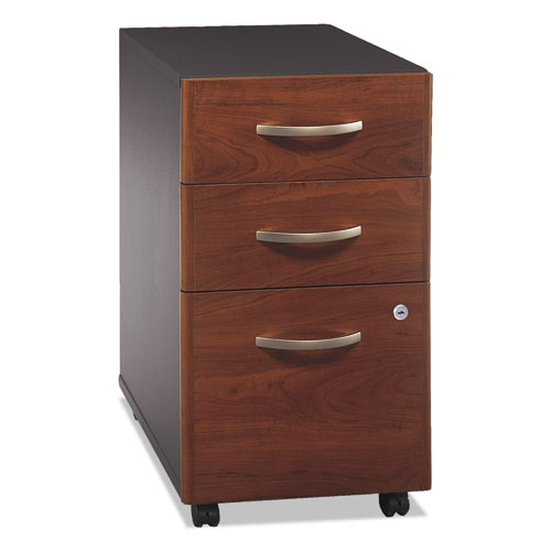 Series C Collection 3 Drawer Mobile Pedestal (Assembled), 15.75w x 20.25d x 27.88h, Hansen Cherry. Picture 3