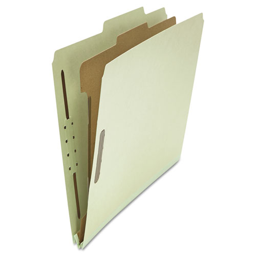 Four-Section Pressboard Classification Folders, 1 Divider, Letter Size, Gray-Green, 10/Box. Picture 1