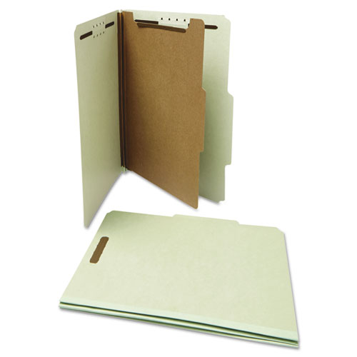 Four-Section Pressboard Classification Folders, 1 Divider, Letter Size, Gray-Green, 10/Box. Picture 2