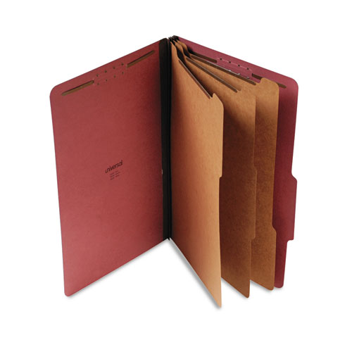 Eight-Section Pressboard Classification Folders, 3 Dividers, Legal Size, Red, 10/Box. Picture 1