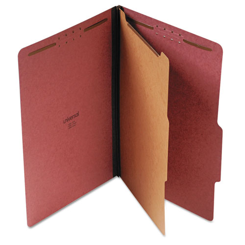 Four-Section Pressboard Classification Folders, 1 Divider, Legal Size, Red, 10/Box. Picture 1