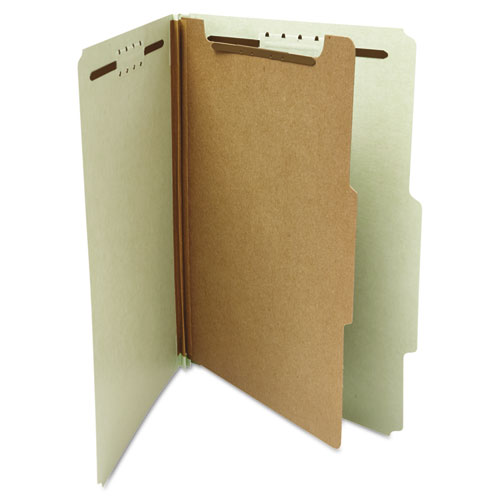 Four-Section Pressboard Classification Folders, 1 Divider, Letter Size, Gray-Green, 10/Box. Picture 3