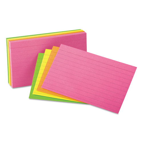 Ruled Neon Glow Index Cards, 5 x 8, Assorted, 100/Pack. Picture 1