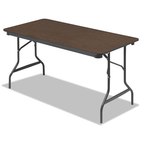 """Iceberg Economy Wood-Laminate Folding Table, 30"""" x 60"""", Walnut. Picture 1"""