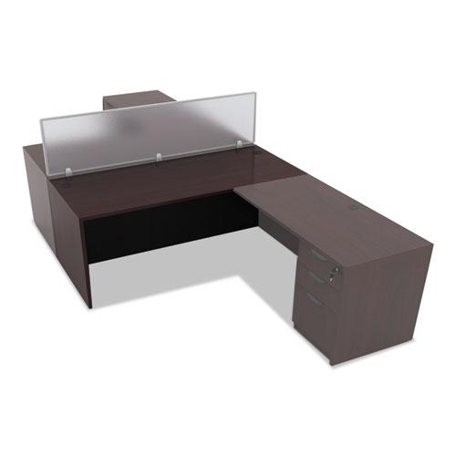 "Alera Valencia Series Straight Front Desk Shell, 65"" x 29.5"" x 29.63"", Mahogany. Picture 6"