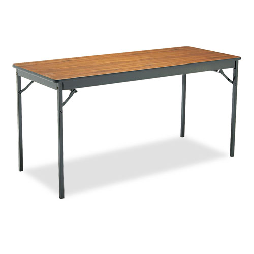 Special Size Folding Table, Rectangular, 60w x 24d x 30h, Walnut/Black. Picture 1