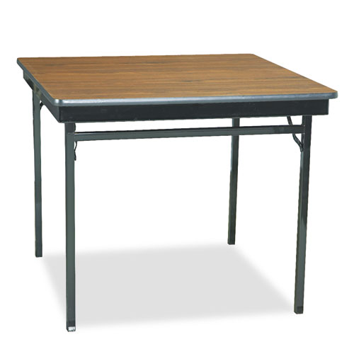 Special Size Folding Table, Square, 36w x 36d x 30h, Walnut/Black. Picture 1
