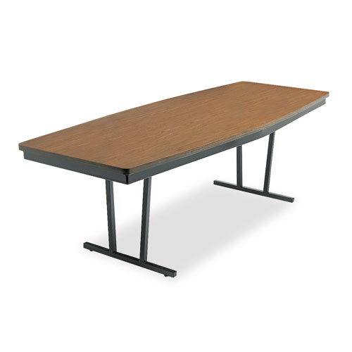 Economy Conference Folding Table, Boat, 96w x 36d x 30h, Walnut/Black. Picture 1