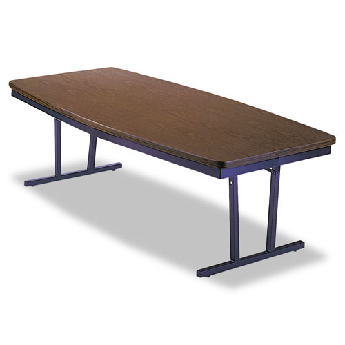 Economy Conference Folding Table, Boat, 96w x 36d x 30h, Walnut/Black. Picture 2