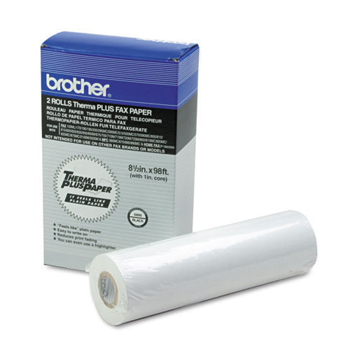 """98' ThermaPlus Fax Paper Roll, 1"""" Core, 8.5"""" x 98ft, White, 2/Pack. Picture 1"""