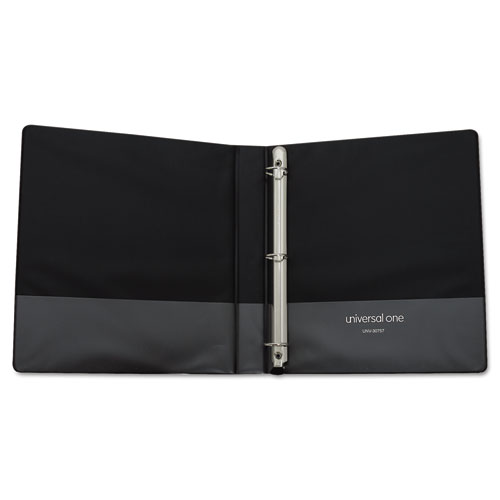 """Deluxe Easy-to-Open Round-Ring View Binder, 3 Rings, 1"""" Capacity, 11 x 8.5, Black. Picture 3"""