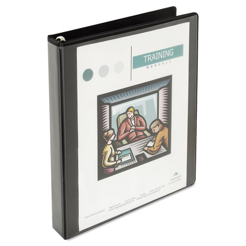 """Deluxe Easy-to-Open Round-Ring View Binder, 3 Rings, 1"""" Capacity, 11 x 8.5, Black. Picture 2"""