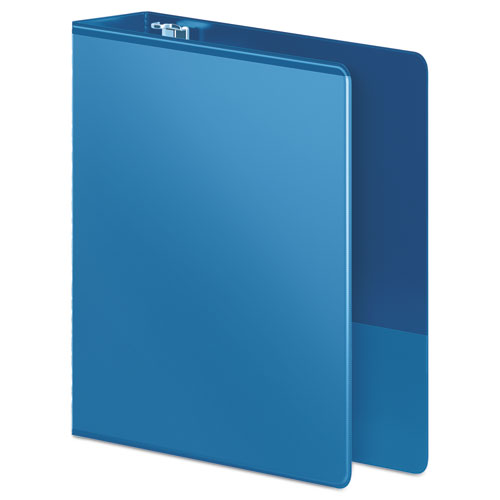 """Heavy-Duty D-Ring View Binder with Extra-Durable Hinge, 3 Rings, 3"""" Capacity, 11 x 8.5, PC Blue. Picture 2"""