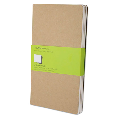 Cahier Journal, Unruled, Kraft Brown Cover, 8.25 x 5, 80 Sheets, 3/Pack. Picture 1