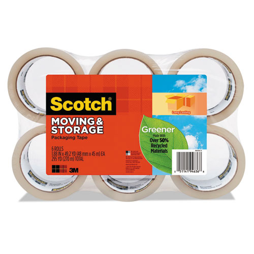 """Moving & Storage Tape, 1.88"""" x 49.2yds, 3"""" Core, Clear, 6/Pack"""