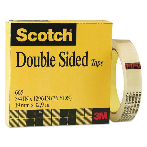 """Double-Sided Tape, 3"""" Core, 0.75"""" x 36 yds, Clear. Picture 1"""
