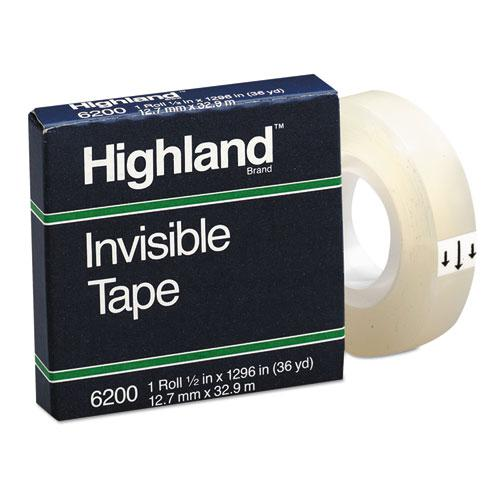 """Invisible Permanent Mending Tape, 1"""" Core, 0.5"""" x 36 yds, Clear. Picture 1"""