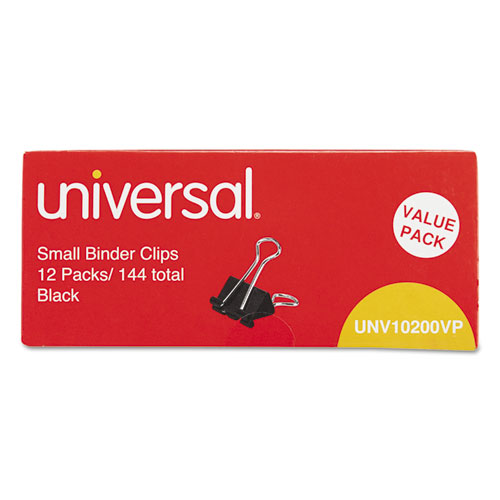 """Universal Small Binder Clips, Steel Wire, 3/8"""" Capacity, 3"""
