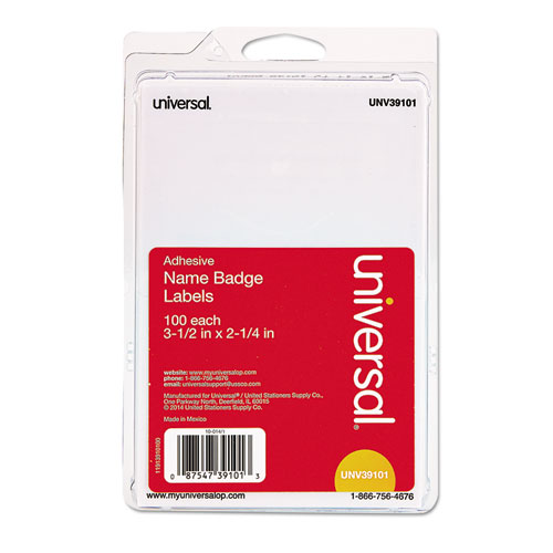 Plain Self-Adhesive Name Badges, 3 1/2 x 2 1/4, White, 100/Pack. Picture 1