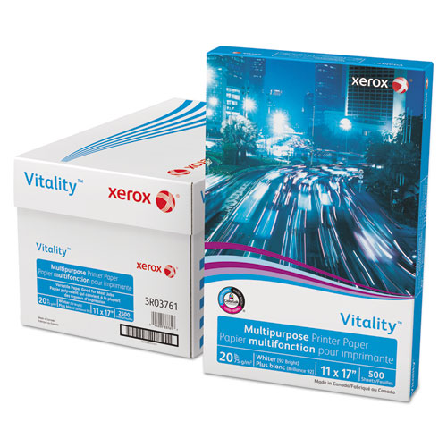 Vitality Multipurpose Print Paper, 92 Bright, 20 lb, 11 x 17, White, 500/Ream. Picture 1