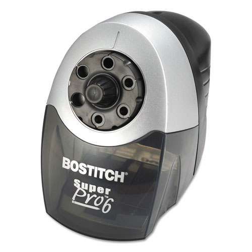 "Super Pro 6 Commercial Electric Pencil Sharpener, AC-Powered, 6.13"" x 10.69"" x 9"", Gray/Black. Picture 2"