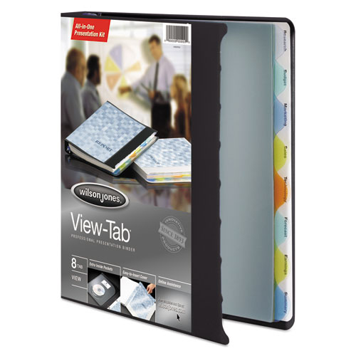 """View-Tab Presentation Round Ring View Binder With Tabs, 3 Rings, 1"""" Capacity, 11 x 8.5, Black. Picture 2"""