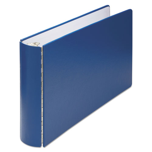 """Casebound Round Ring Binder, 3 Rings, 2"""" Capacity, 11 x 17, Blue. Picture 1"""