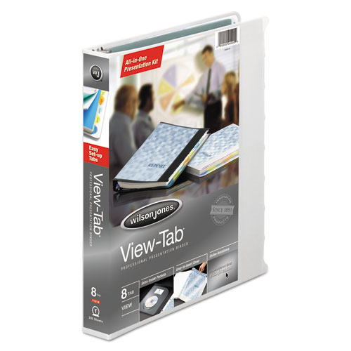 """View-Tab Presentation Round Ring View Binder With Tabs, 3 Rings, 1"""" Capacity, 11 x 8.5, White. Picture 1"""
