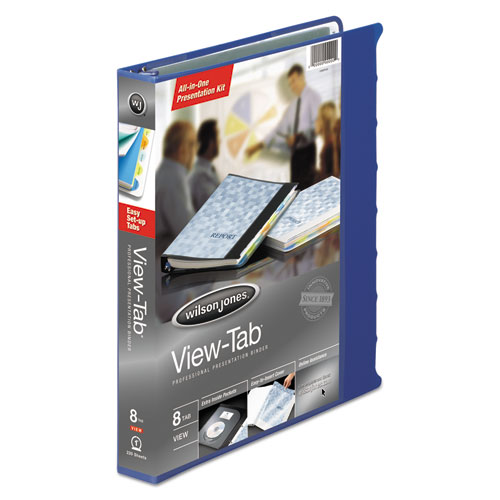 """View-Tab Presentation Round Ring View Binder With Tabs, 3 Rings, 1"""" Capacity, 11 x 8.5, Blue. Picture 3"""