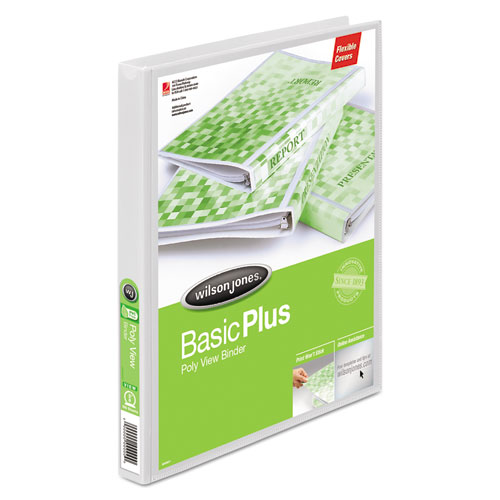 """Flexible Poly Round Ring View Binder, 3 Rings, 0.63"""" Capacity, 11 x 8.5, White. Picture 1"""