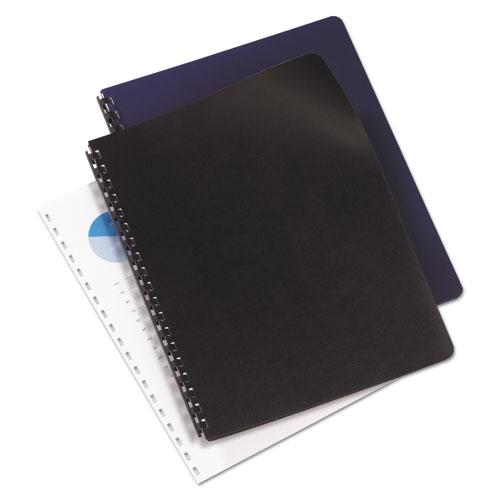 Leather Look Presentation Covers for Binding Systems, 11 x 8.5, Navy, 100 Sets/Box. Picture 2