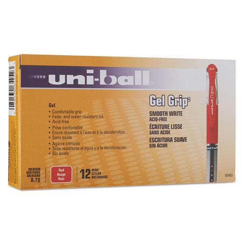Signo GRIP Gel Pen, Stick, Medium 0.7 mm, Red Ink, Silver/Red Barrel, Dozen. Picture 2