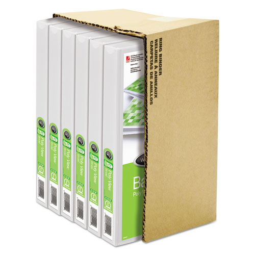 """Flexible Poly Round Ring View Binder, 3 Rings, 0.63"""" Capacity, 11 x 8.5, White. Picture 4"""