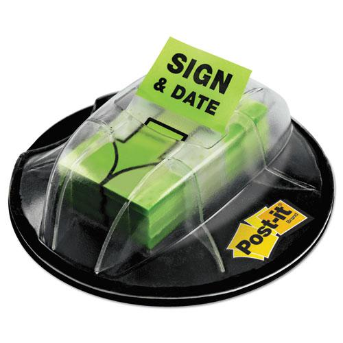 """Page Flags in Dispenser, """"Sign and Date"""", Bright Green, 200 Flags/Dispenser. Picture 1"""