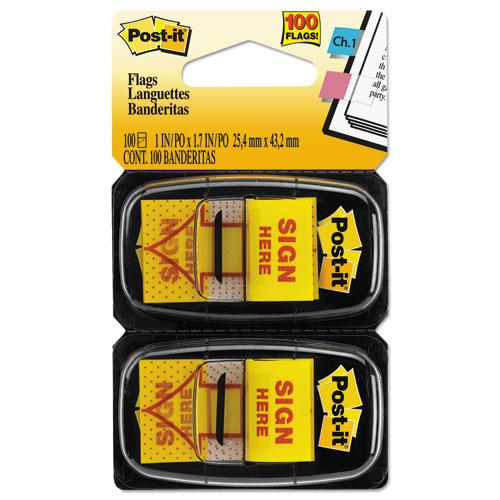 """Arrow Message 1"""" Page Flags, """"Sign Here"""", Yellow, 2 50-Flag Dispensers/Pack. Picture 3"""